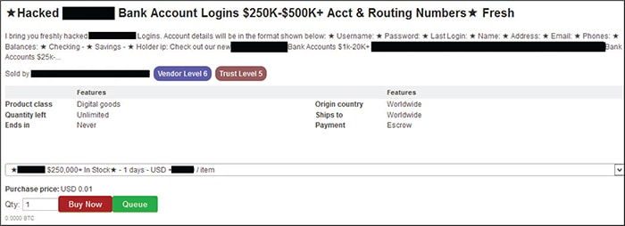 Us Bank Address For Wires | U S Bank Account Information Sold On Dark Web Marketplace Verafin