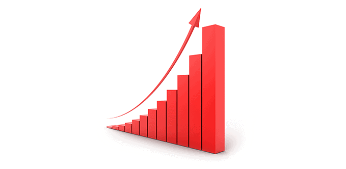 A 3D bar graph with ascending bars with an arrow pointing diagonally upwards